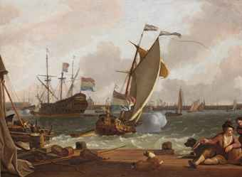 ludolf_bakhuizen_a_view_of_the_ij_with_the_east_indiaman_kattendyck